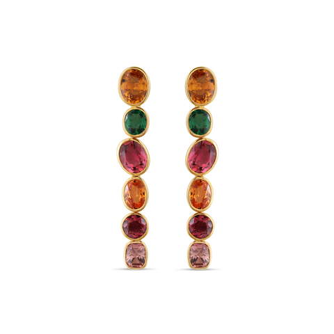18K Yellow Gold Earring with Multicolor Tourmaline, Tsavorite Garnet and Mandrian Garnet