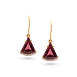 Pink Tourmaline & Diamond Earring in 18k Yellow Gold