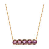 Pink Sapphire and Diamond Pendant in 18k Rose Gold