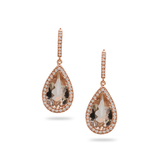 Morganite With Diamond Earrings in 18K Rose Gold