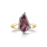 Pink Tourmaline with Diamond Pave All Round In 18k Yellow Gold
