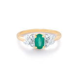 Emerald Oval & Diamond Ring In 18k Yellow Gold