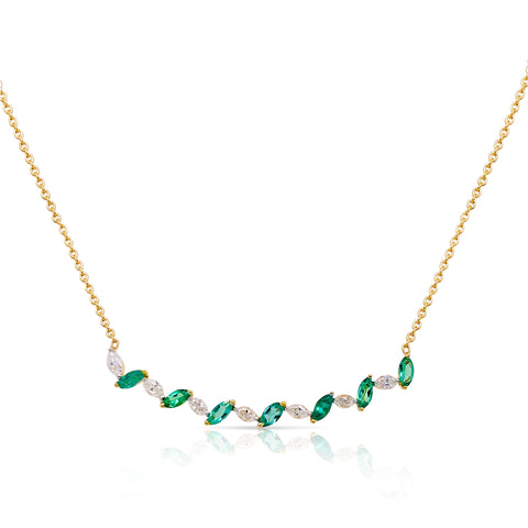 Emerald Mq. & Diamond Necklace In 18K Yellow Gold