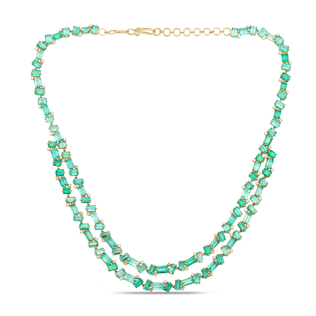 Emerald and Diamond Necklace in 18k Yellow Gold