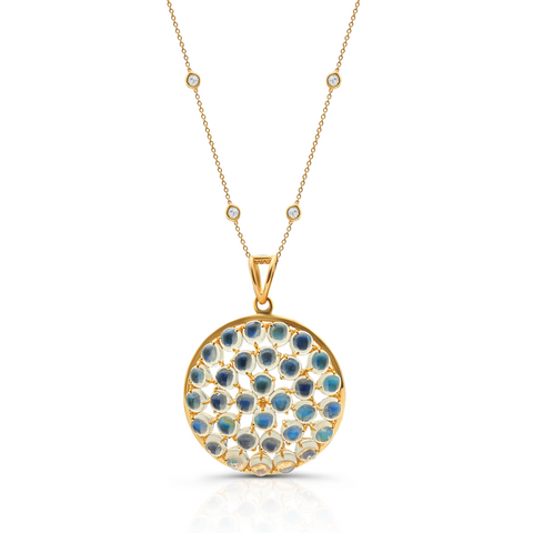 Rainbow Moonstone Pendant in 18K Yellow Gold