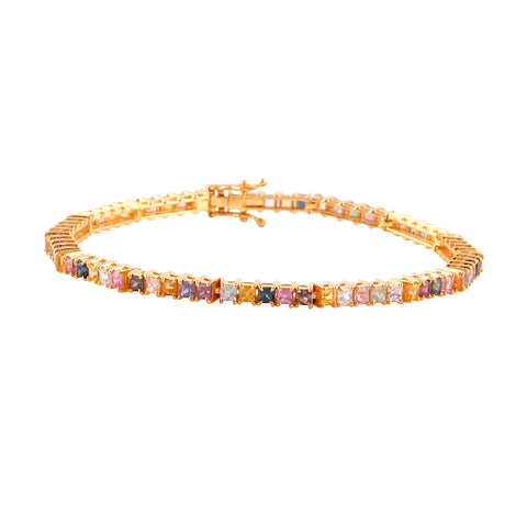 Multicolor Stones Square Bracelet in 18K Yellow Gold