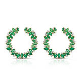 Gemstones Marquise and Round Earring in 18K Gold