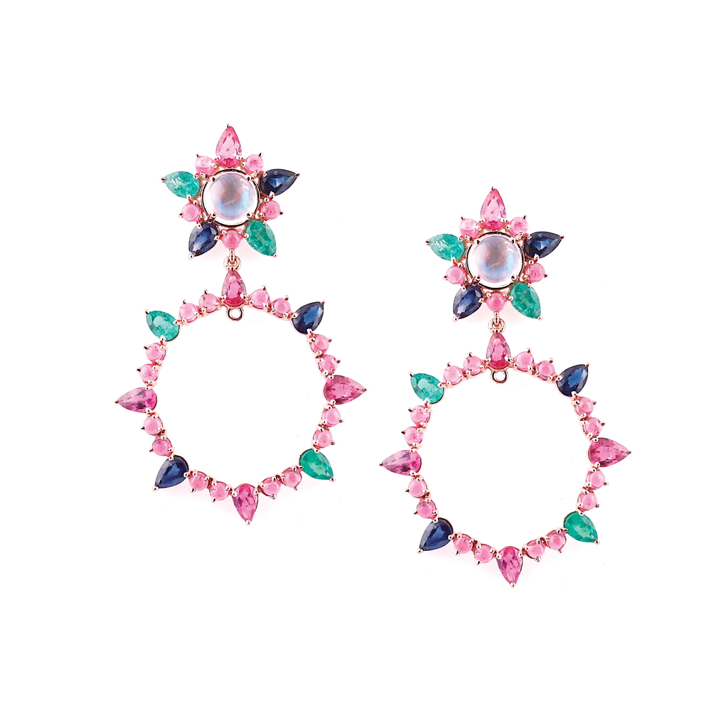 Multicolor Stone Earrings in 18K Rose Gold