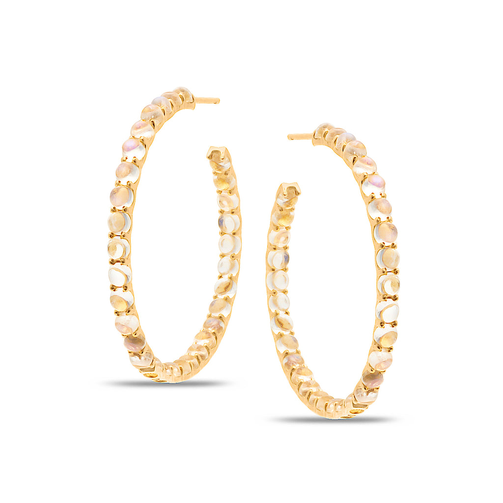 Rainbow Moonstone Hoop Round Earring in 18k Yellow Gold