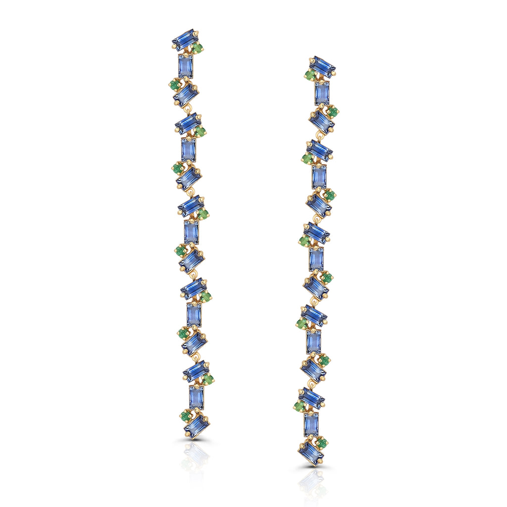 Blue Sapphire Rectangular and Emerald Round Earring in 18k Yellow Gold
