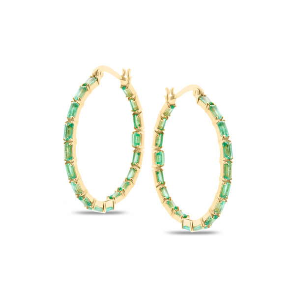 Gemstone Hoop Round Earring in 18k Yellow Gold
