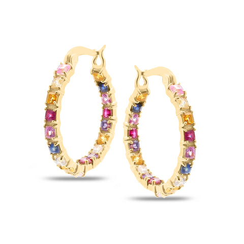 Multicolor Stones Square Hoop Earring in 18K Yellow Gold