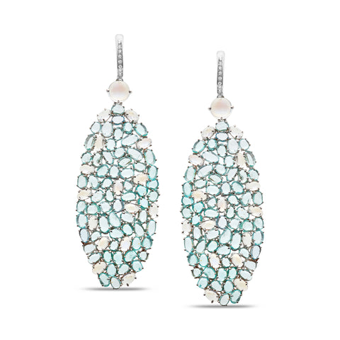 Rainbow Moonstone, Paraiba Tourmaline & Diamond Earring in 18K White Gold