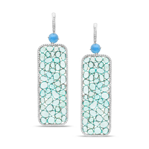 Aquamarine, Paraiba Tourmaline & Diamond Earring in 18K White Gold