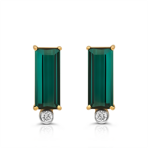 Green Tourmaline & Diamond Stud Earring in 18K Yellow Gold