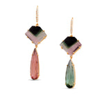Watermelon, Green, Pink Tourmaline & Diamond Earring in 18k YG