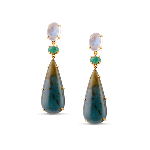 BiColor Tourmaline, Emerald and Rainbow Moonstone Earrings in 18k Yellow Gold