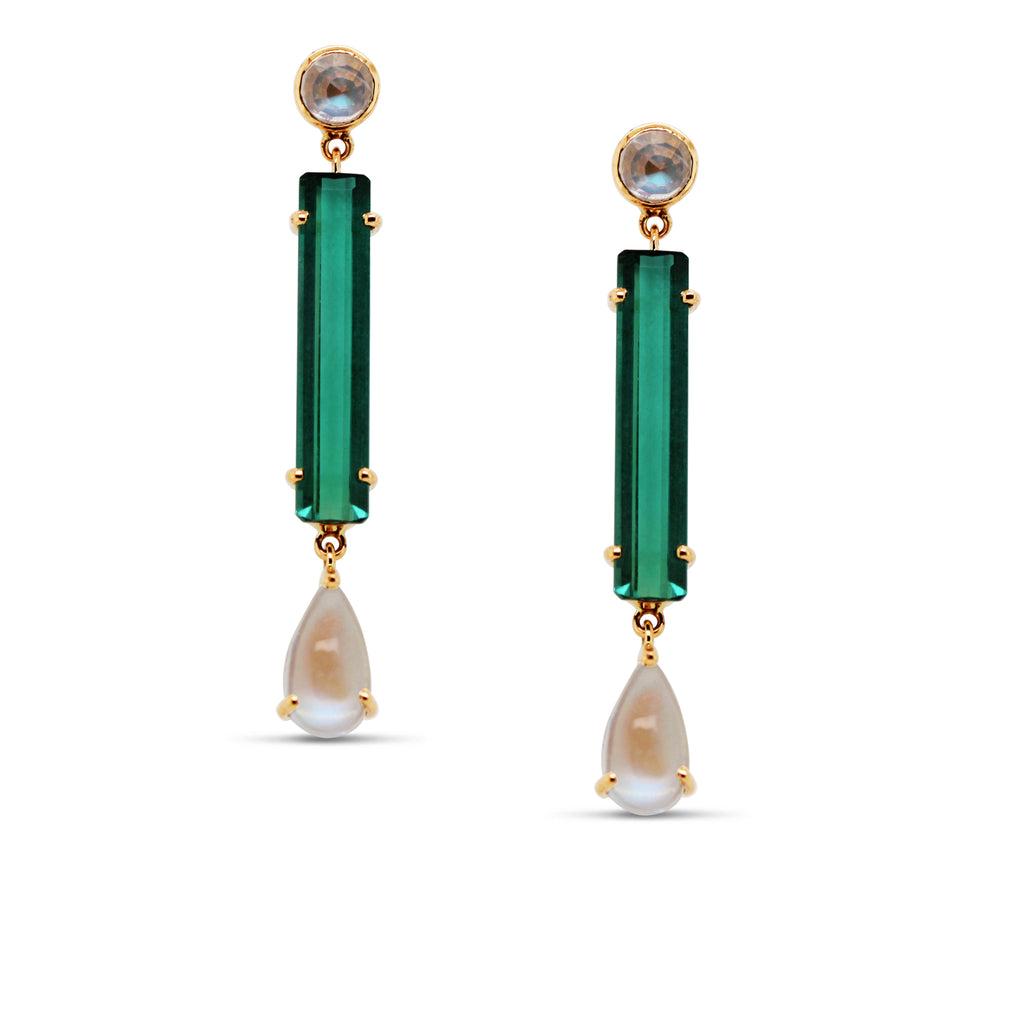 Green Tourmaline Rect. & Rainbow Moonstone Earring in 18K YG