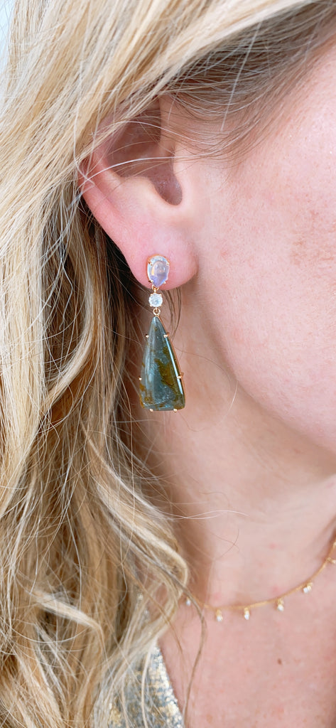 Green Tourmaline Rect, Rainbow Moonstone & Diamond Earring in 18k YG