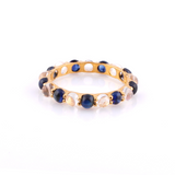 Gemstone Round Cabochon Eternity Ring in 18K Yellow Gold