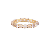Gemstone Round Rose cut Eternity Ring in 18K Yellow Gold