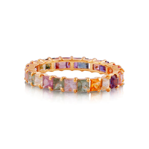 Multicolor Sapphire Square Stacking Ring in 18K Yellow Gold