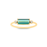 Green Tourmaline and Diamond Ring in 18K Yellow Gold