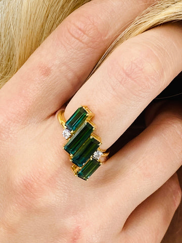 Green Tourmaline and Diamond Ring Band in 18K Yellow Gold