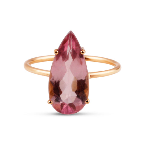 Pink Tourmaline Pear Shape Ring Band in 18k Yellow Gold