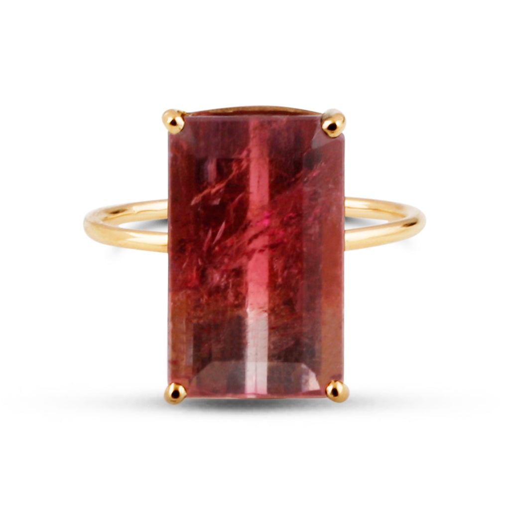 Watermelon Tourmaline Ring Band in 18k Yellow Gold