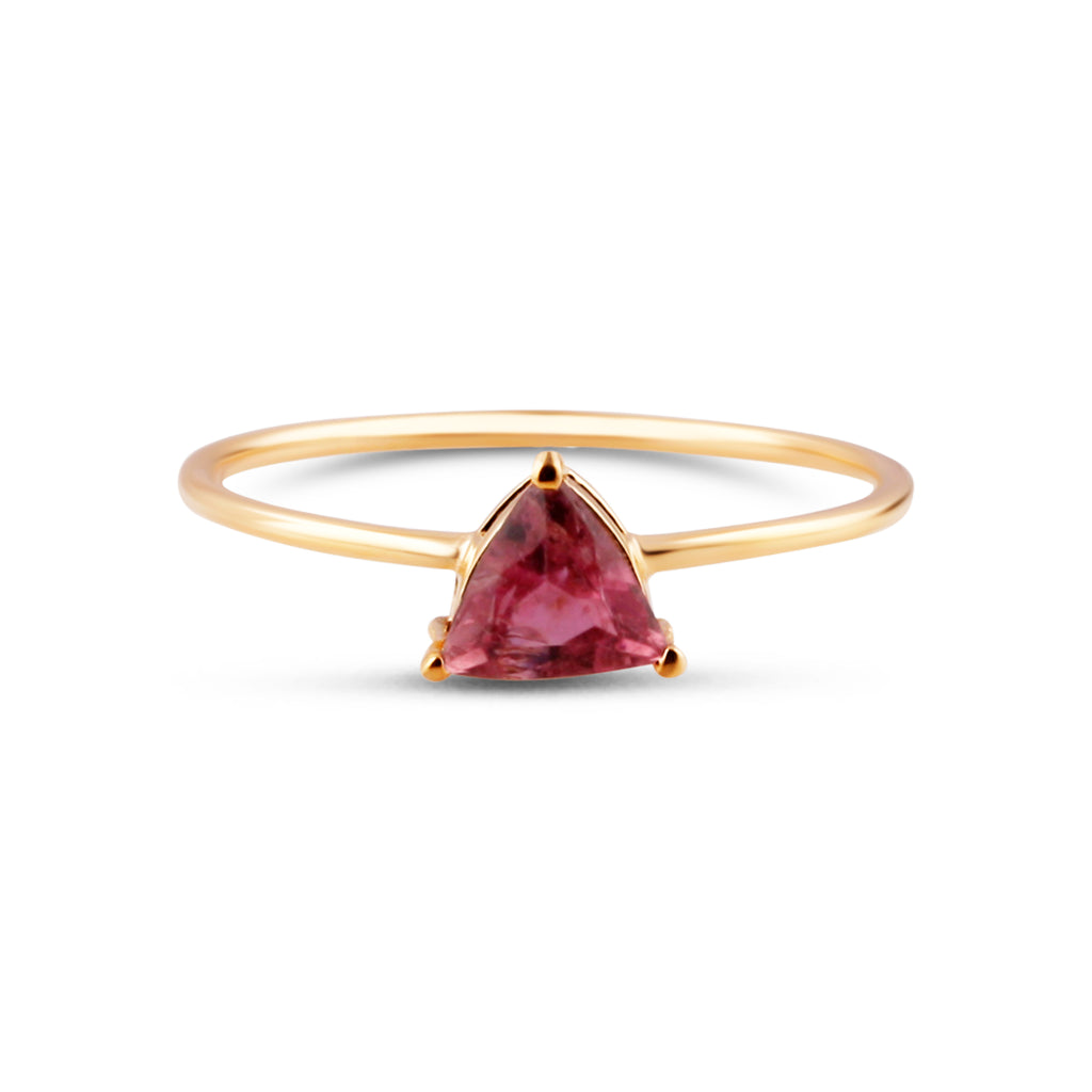 Pink Tourmaline Triangle Ring Band in 18k Yellow Gold