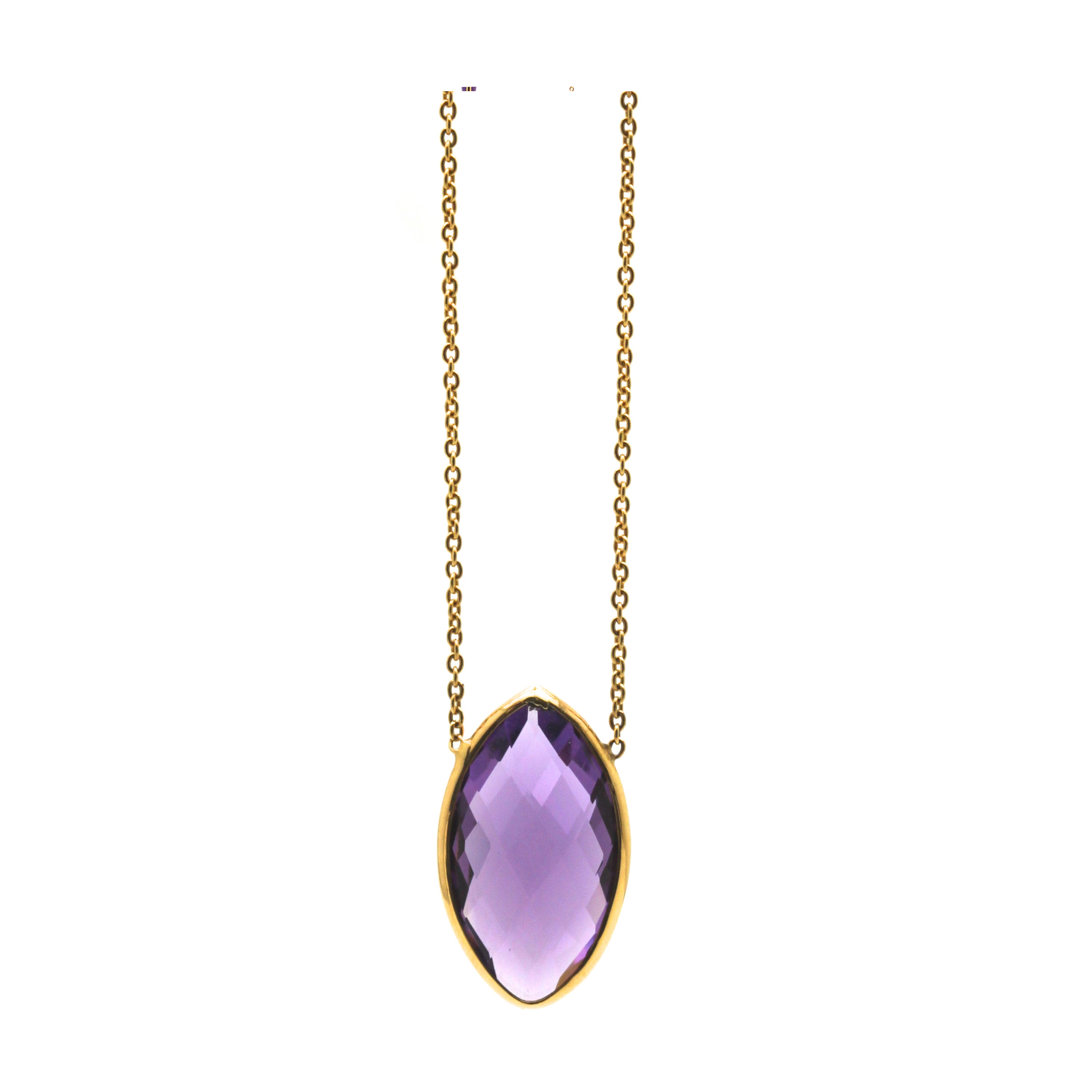 18K Yellow Gold Necklace With Amethyst Marquise