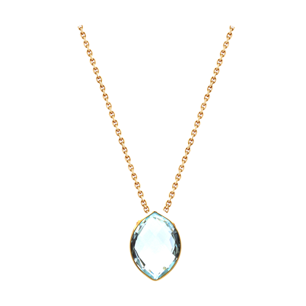 18k Yellow Gold Necklace with Sky Blue Topaz - Marquise