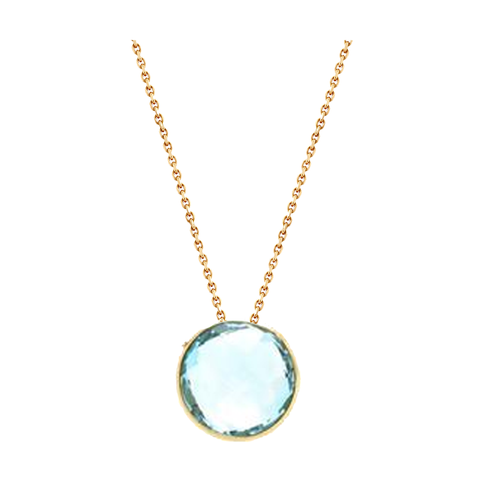 18K Yellow Gold Necklace With Sky Blue Topaz Round