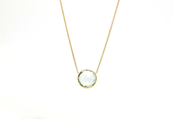 18K Yellow Gold Necklace With Green Amethyst Round