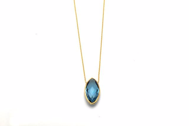 London Blue Topaz & Marquise Necklace in 18K Yellow Gold