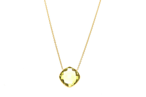 18K Yellow Gold Necklace With Lemon Quartz Square Cushion