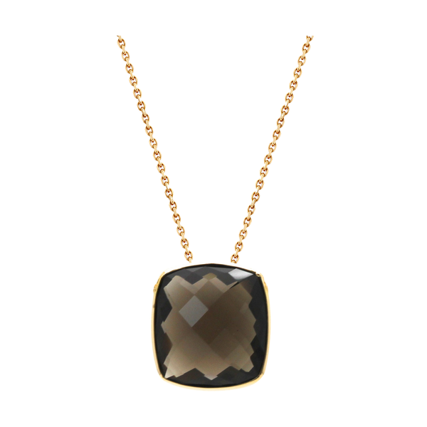 18K Yellow Gold Necklace With Smokey Quartz Square Cushion