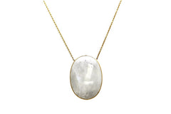 Rainbow Moonstone Oval Pendant in 18k YG