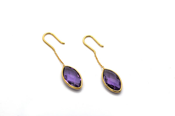 18K Yellow Gold Earring With Amethyst Marquise