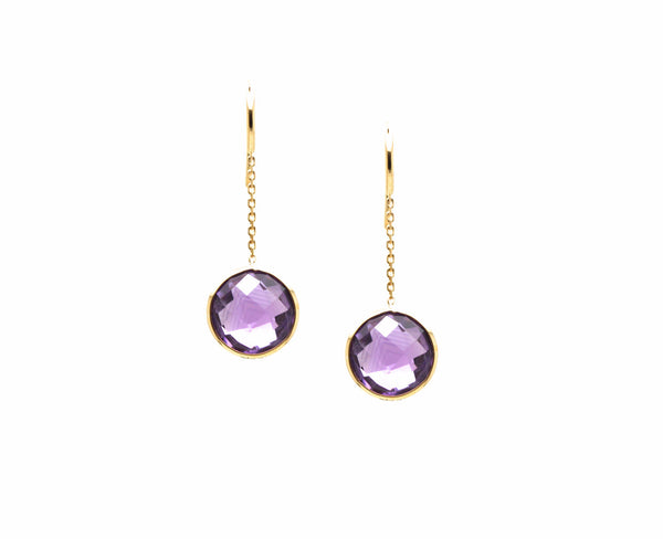 18K Yellow Gold Earring With Amethyst Round