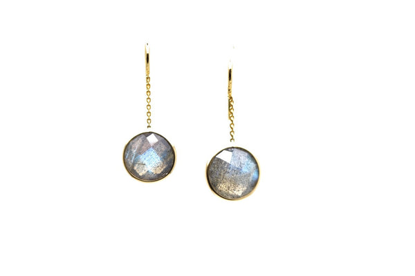 Labradorite Oval Simple Dangle Earrings In 18K Yellow Gold