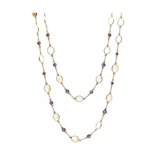 Rainbow Moonstone & Amethyst Long Necklace In 18k Yellow Gold