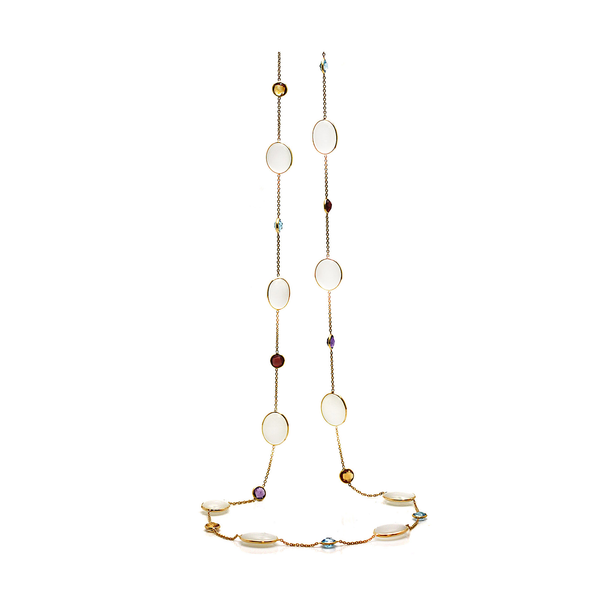 Rainbow Moonstone & Multicolor Stone Long Necklace In 18k Yellow Gold