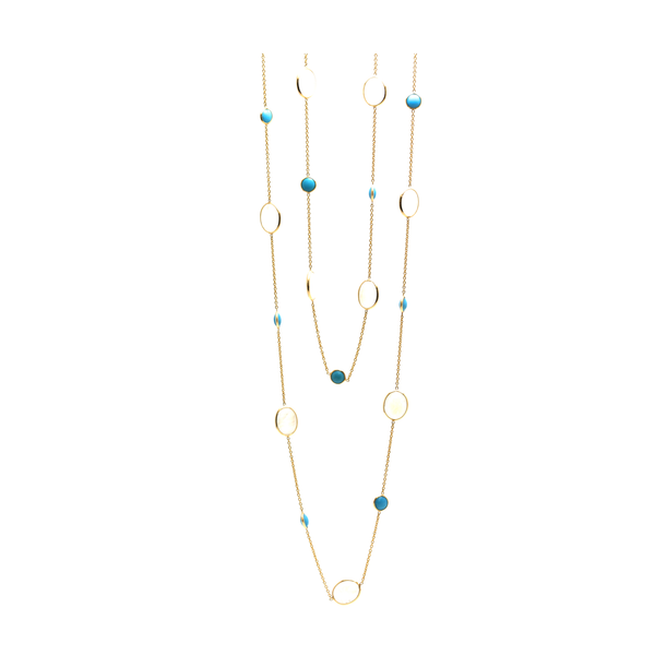 Rainbow Moonstone & Gemstone Long Necklace In 18k Yellow Gold