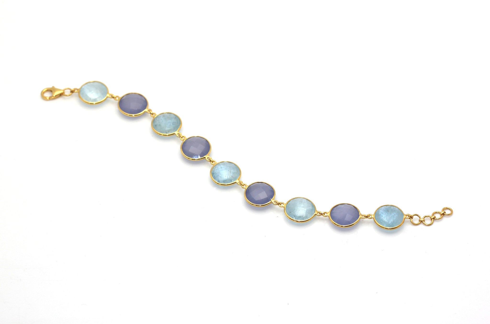 18k Yellow Gold Bracelet With Aquamarine & Calcidony