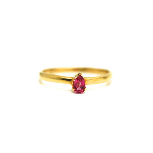 18k Yellow Gold Ring in Pink Tourmaline Pear Shape