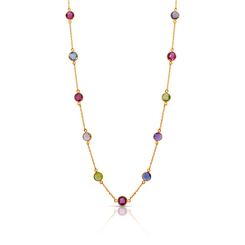 Multicolor Quartz Station Necklace in 18k YG