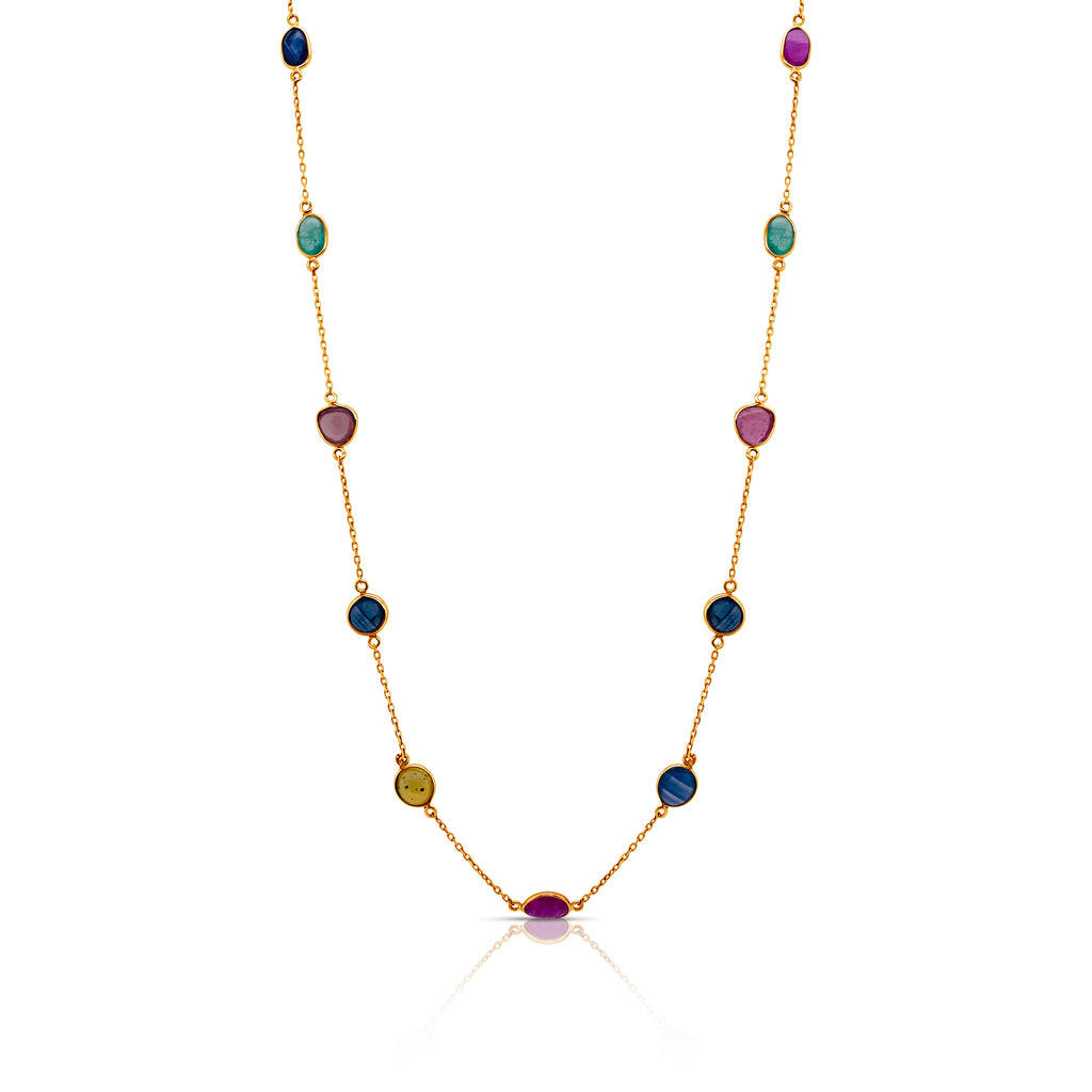 Multicolor Stone Slice Station Necklace in 18k Yellow Gold