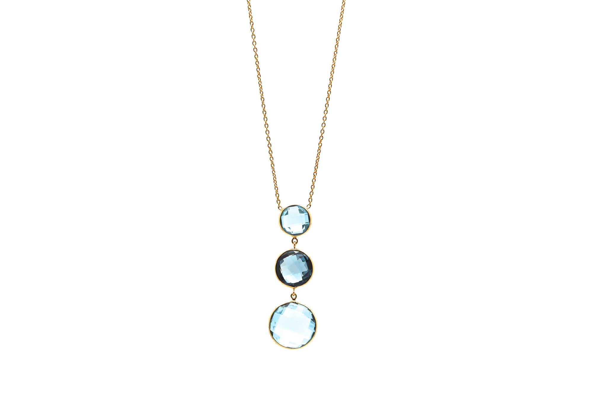 18K Yellow Gold Necklace With London Blue Topaz & Sky Blue Topaz